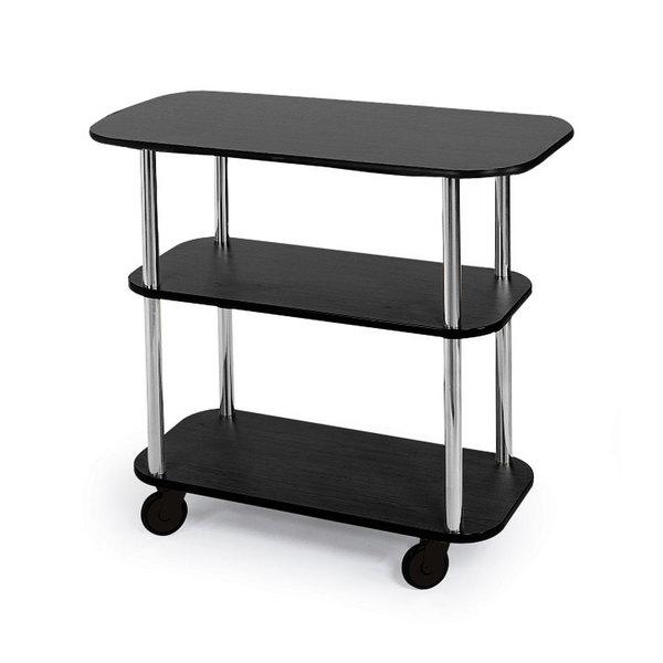 """Geneva 36100 Rectangular 3 Shelf Laminate Tableside Service Cart with Ebony Wood Finish - 16"""" x 42 3/8"""" x 35 1/4"""""""
