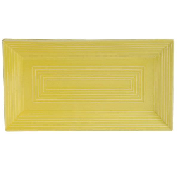 "CAC TG-RT13-SFL Tango 11 5/8"" x 6 3/8"" x 1"" Sunflower Rectangular Platter - 12/Case"