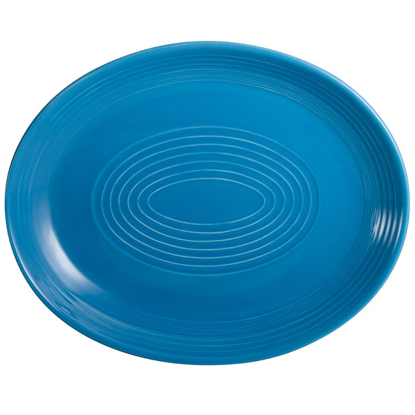 """CAC TG-14C-PCK Tango 12 3/4"""" x 10 1/4"""" Peacock Coupe Oval Platter - 12/Case"""