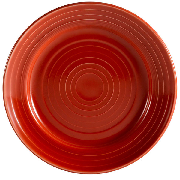 """CAC TG-16-R Tango 10 1/2"""" Red Round Plate - 12/Case"""