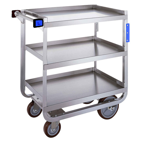 "Lakeside 511 Heavy Duty NSF Stainless Steel 3 Shelf Utility Cart - 16 1/4"" x 30"" x 34 1/4"""