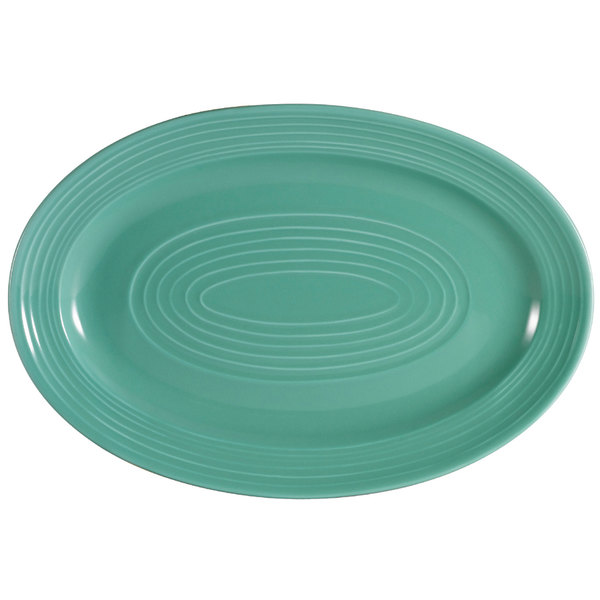 "CAC TG-14-G Tango 13 5/8"" x 9 3/8"" Green Oval Platter - 12/Case Main Image 1"