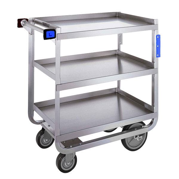 "Lakeside 759 Heavy Duty Stainless Steel 3 Shelf Utility Cart - 22 3/8"" x 54 5/8"" x 37"" Main Image 1"