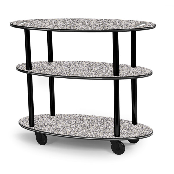 """Geneva 36304 Oval 3 Shelf Laminate Table Side Service Cart with Handle Cutouts and Gray Sand Finish - 23"""" x 44"""" x 35 1/4"""