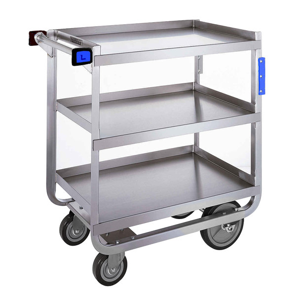 "Lakeside 522 Heavy Duty NSF Stainless Steel 3 Shelf Utility Cart - 19 3/8"" x 32 5/8"" x 34 1/2"""