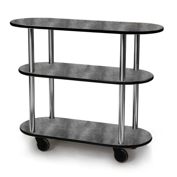 "Geneva 36200 Oval 3 Shelf Laminate Table Side Service Cart with Pewter Brush Finish - 16"" x 42 3/8"" x 35 1/4"""