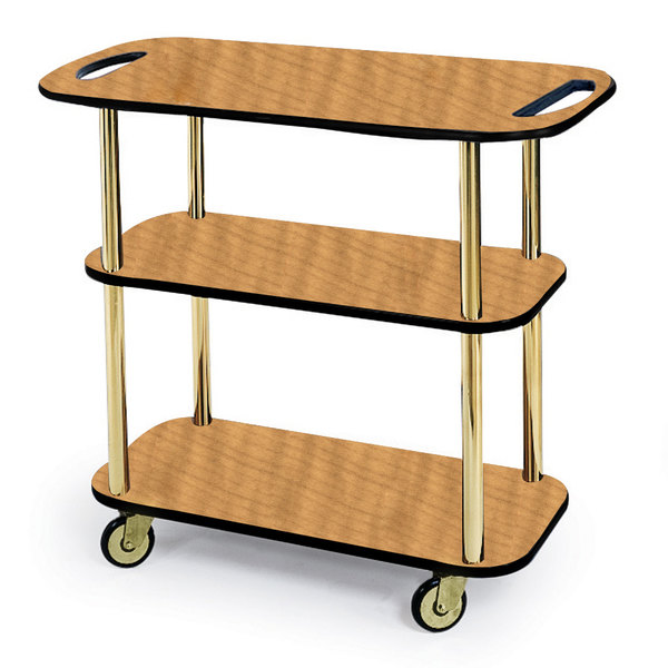 "Geneva 36104-10 Rectangular 3 Shelf Laminate Tableside Service Cart with Handle Cutouts and Amber Maple Finish - 16"" x 42 3/8"" x 35 1/4"