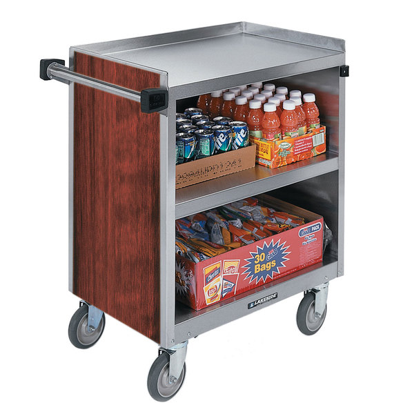 """Lakeside 844RM 3 Shelf Heavy Duty Stainless Steel Utility Cart with Enclosed Base and Red Maple Finish - 22 1/2"""" x 39 5/16"""" x 37"""" Main Image 1"""