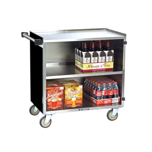 "Lakeside 644B 3 Shelf Medium Duty Stainless Steel Utility Cart with Enclosed Base and Black Finish - 22 1/2"" x 39 1/4"" x 37 3/8"""