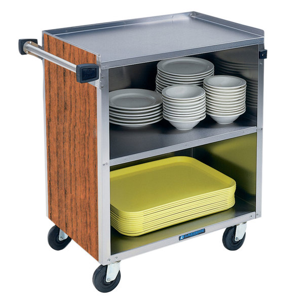 "Lakeside 622 3 Shelf Medium Duty Stainless Steel Utility Cart with Enclosed Base and Victorian Cherry Finish - 19"" x 30 3/4"" x 33 7/8"""