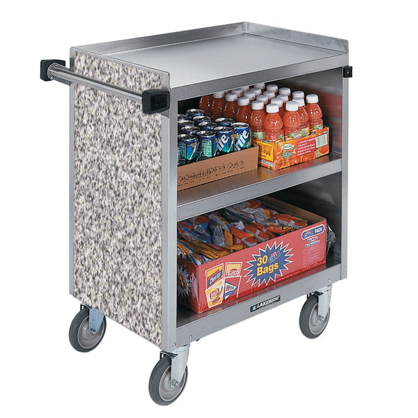 """Lakeside 844GS 3 Shelf Heavy Duty Stainless Steel Utility Cart with Enclosed Base and Gray Sand Finish - 22 1/2"""" x 39 5/16"""" x 37"""" Main Image 1"""