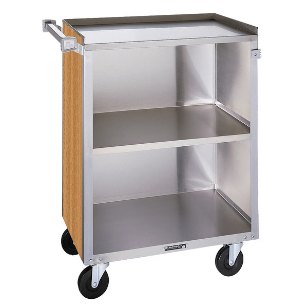 "Lakeside 810LM 3 Shelf Medium Duty Stainless Steel Utility Cart with Enclosed Base and Light Maple Finish - 16 7/8"" x 28 1/4"" x 34 1/2"" Main Image 1"