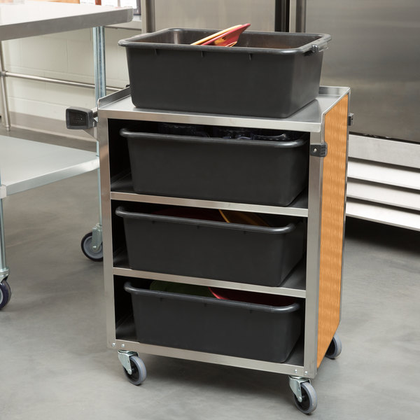 """Lakeside 615LM 4 Shelf Standard Duty Stainless Steel Utility Cart with Enclosed Base and Light Maple Finish - 16 1/2"""" x 27 3/4"""" x 32 3/4"""""""