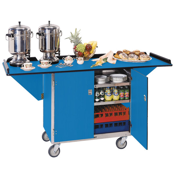 "Lakeside 675 Stainless Steel Drop-Leaf Beverage Service Cart with 3 Shelves and Royal Blue Finish - 44 1/4"" x 24"" x 38 1/4"""
