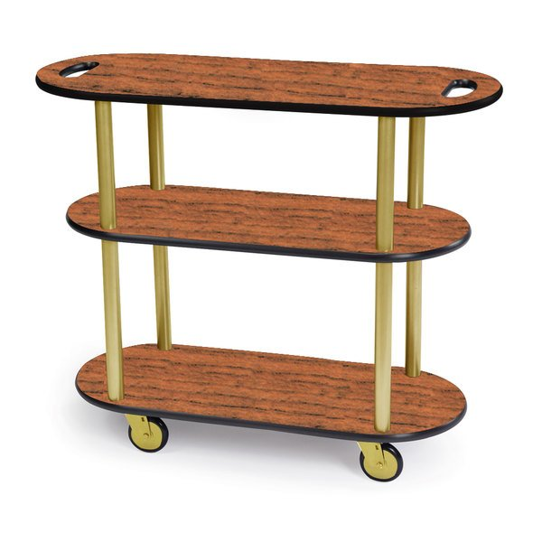"""Geneva 36204-02 Oval 3 Shelf Laminate Table Side Service Cart with Handle Cutouts and Victorian Cherry Finish - 16"""" x 42 3/8"""" x 35 1/4"""