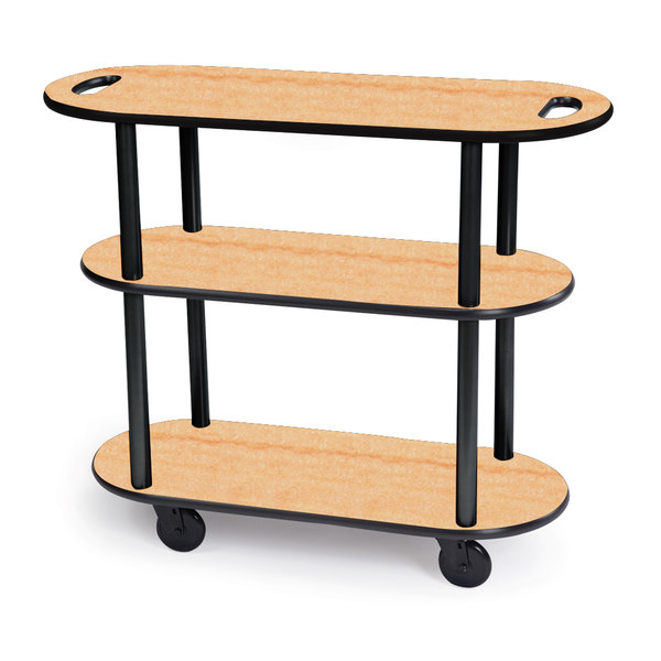 "Geneva 36204-03 Oval 3 Shelf Laminate Table Side Service Cart with Handle Cutouts and Maple Finish - 16"" x 42 3/8"" x 35 1/4 Main Image 1"