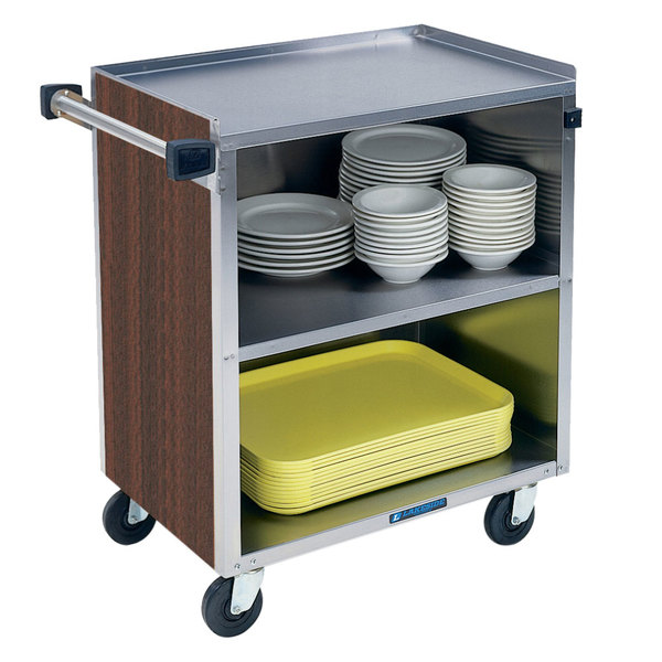 "Lakeside 622 3 Shelf Medium Duty Stainless Steel Utility Cart with Enclosed Base and Walnut Finish - 19"" x 30 3/4"" x 33 7/8"""