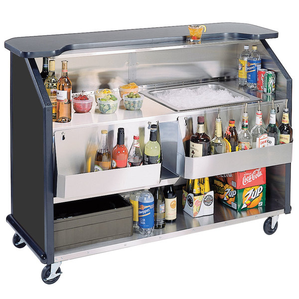 """Lakeside 887B 63 1/2"""" Stainless Steel Portable Bar with Black Laminate Finish, 2 Removable 7-Bottle Speed Rails, and 40 lb. Ice Bin"""
