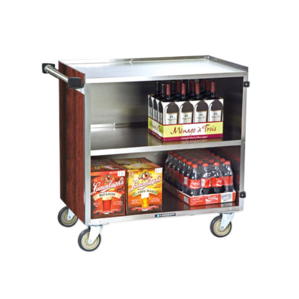 """Lakeside 644RM 3 Shelf Medium Duty Stainless Steel Utility Cart with Enclosed Base and Red Maple Finish - 22 1/2"""" x 39 1/4"""" x 37 3/8"""""""
