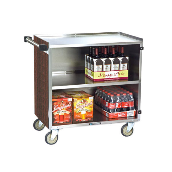 "Lakeside 644W 3 Shelf Medium Duty Stainless Steel Utility Cart with Enclosed Base and Walnut Finish - 22 1/2"" x 39 1/4"" x 37 3/8"" Main Image 1"