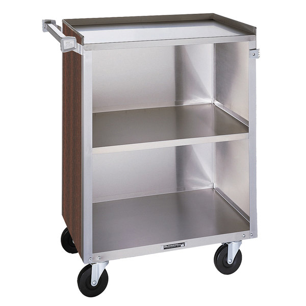 "Lakeside 810W 3 Shelf Medium Duty Stainless Steel Utility Cart with Enclosed Base and Walnut Finish - 16 7/8"" x 28 1/4"" x 34 1/2"""