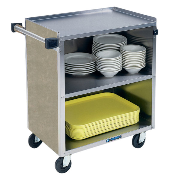 "Lakeside 622 3 Shelf Medium Duty Stainless Steel Utility Cart with Enclosed Base and Beige Suede Finish - 19"" x 30 3/4"" x 33 7/8"""