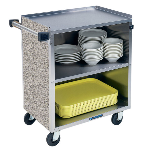 "Lakeside 622GS Shelf Medium Duty Stainless Steel Utility Cart with Enclosed Base and Gray Sand Finish - 19"" x 622GS 0 622GS /4"" x 622GS 622GS 7/8"""