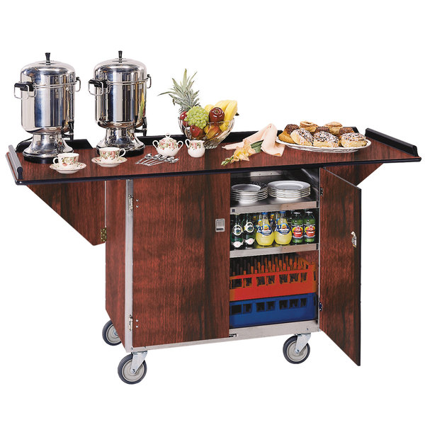 """Lakeside 675RM Stainless Steel Drop-Leaf Beverage Service Cart with 3 Shelves and Red Maple Finish - 44 1/4"""" x 24"""" x 38 1/4"""""""