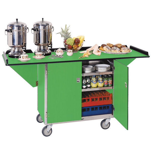 """Lakeside 675 Stainless Steel Drop-Leaf Beverage Service Cart with 3 Shelves and Green Finish - 44 1/4"""" x 24"""" x 38 1/4"""""""