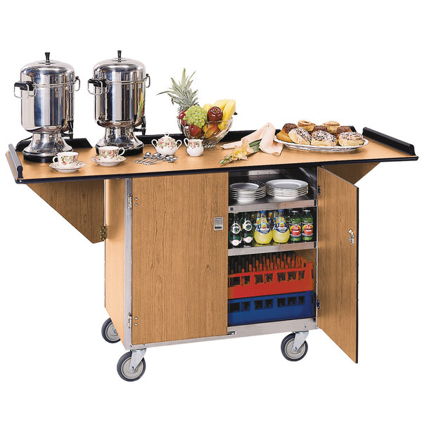 "Lakeside 675LM Stainless Steel Drop-Leaf Beverage Service Cart with 3 Shelves and Light Maple Finish - 44 1/4"" x 24"" x 38 1/4"" Main Image 1"