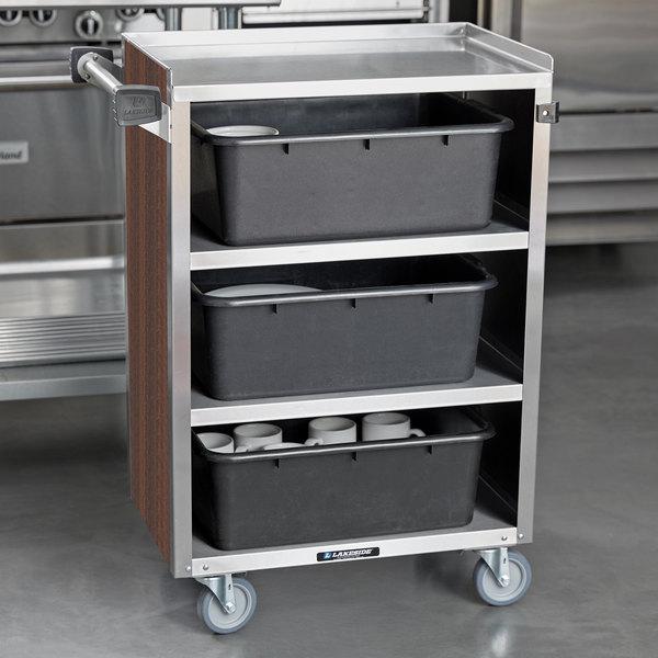 "Lakeside 815W 4 Shelf Medium Duty Stainless Steel Utility Cart with Enclosed Base and Walnut Finish - 16 7/8"" x 28 1/4"" x 37 1/2"""