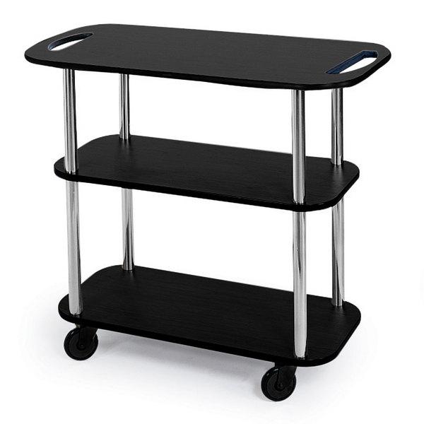 "Geneva 36104-05 Rectangular 3 Shelf Laminate Tableside Service Cart with Handle Cutouts and Black Finish - 16"" x 42 3/8"" x 35 1/4 Main Image 1"