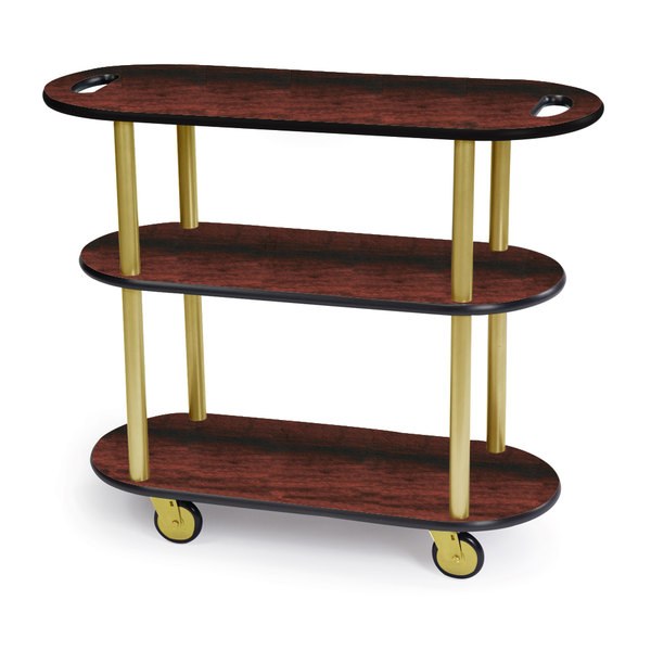 "Geneva 36204-04 Oval 3 Shelf Laminate Table Side Service Cart with Handle Cutouts and Red Maple Finish - 16"" x 42 3/8"" x 35 1/4 Main Image 1"