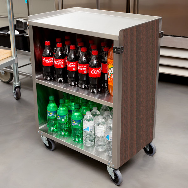 """Lakeside 610W 3 Shelf Standard Duty Stainless Steel Utility Cart with Enclosed Base and Walnut Finish - 16 1/2"""" x 27 3/4"""" x 32 3/4"""" Main Image 4"""