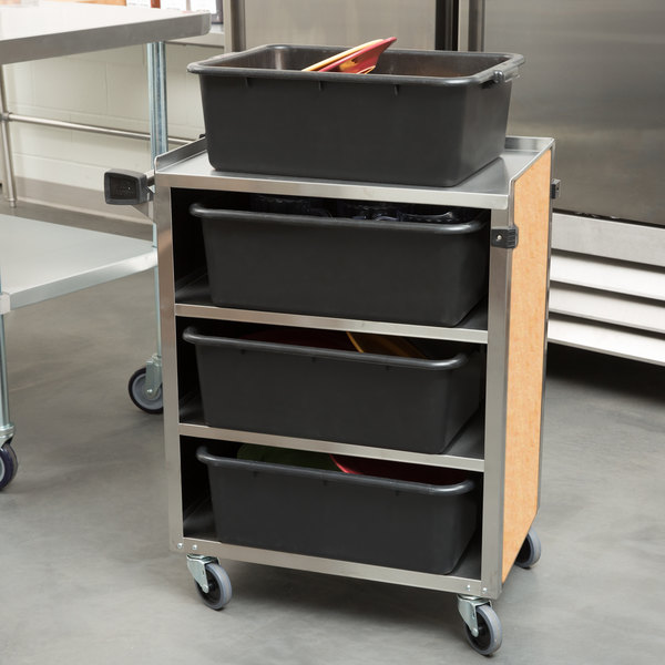 """Lakeside 615 4 Shelf Standard Duty Stainless Steel Utility Cart with Enclosed Base and Hard Rock Maple Finish - 16 1/2"""" x 27 3/4"""" x 32 3/4"""""""