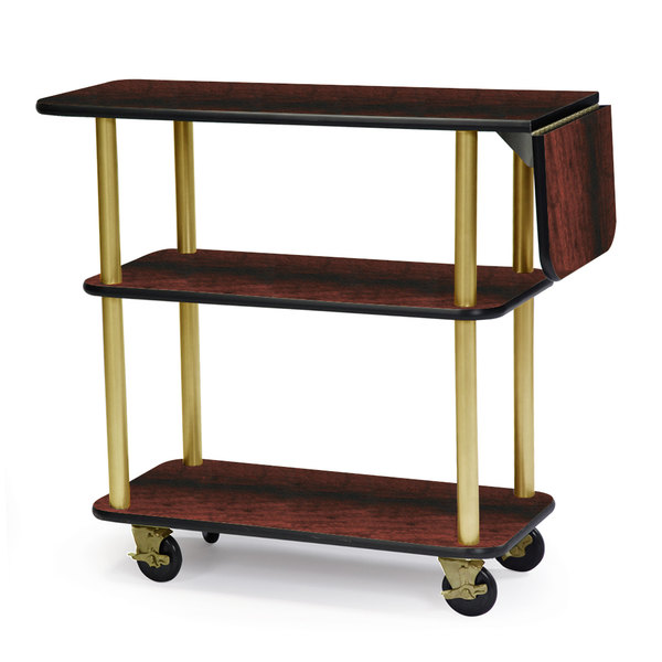 """Geneva 36102 Rectangular 3 Shelf Laminate Tableside Service Cart with 10"""" Drop Leaf and Red Maple Finish - 16"""" x 48"""" x 35 1/4"""