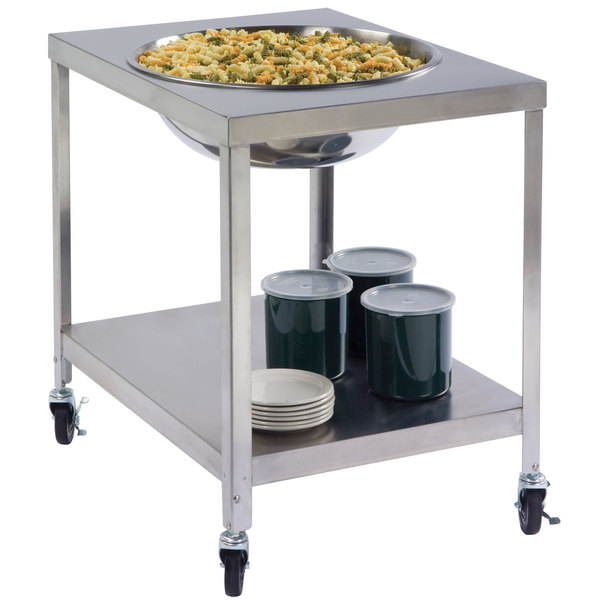 Lakeside 712 Stainless Steel Mobile Mixing Bowl Stand for 30 Qt. Bowl Main Image 1