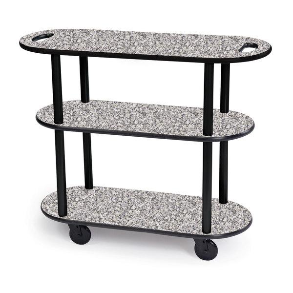 "Geneva 36204-01 Oval 3 Shelf Laminate Table Side Service Cart with Handle Cutouts and Gray Sand Finish - 16"" x 42 3/8"" x 35 1/4 Main Image 1"