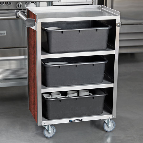 """Lakeside 815 4 Shelf Medium Duty Stainless Steel Utility Cart with Enclosed Base and Red Maple Finish - 16 7/8"""" x 28 1/4"""" x 37 1/2"""""""