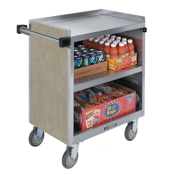 """Lakeside 844 3 Shelf Heavy Duty Stainless Steel Utility Cart with Enclosed Base and Beige Suede Finish - 22 1/2"""" x 39 5/16"""" x 37"""""""
