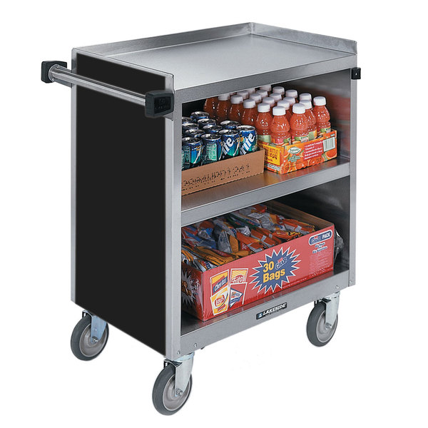 "Lakeside 844B 3 Shelf Heavy Duty Stainless Steel Utility Cart with Enclosed Base and Black Finish - 22 1/2"" x 39 5/16"" x 37"""