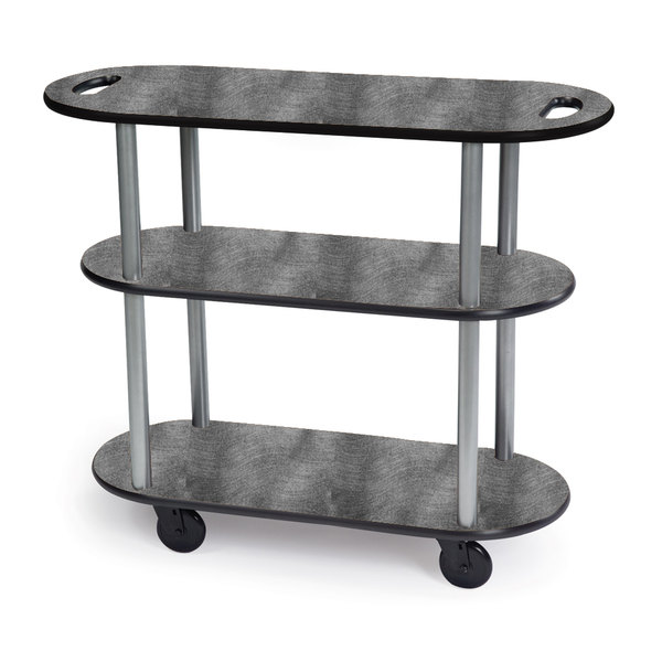 "Geneva 36204-07 Oval 3 Shelf Laminate Table Side Service Cart with Handle Cutouts and Pewter Brush Finish - 16"" x 42 3/8"" x 35 1/4 Main Image 1"