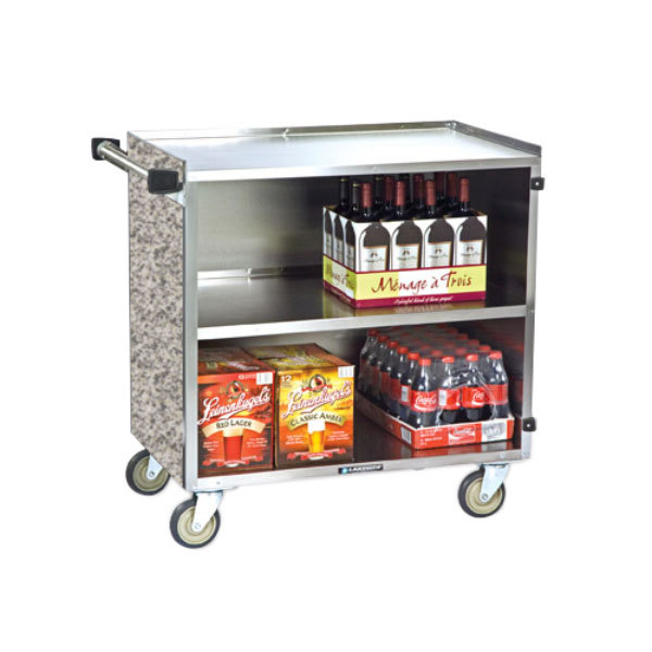"""Lakeside 644 3 Shelf Medium Duty Stainless Steel Utility Cart with Enclosed Base and Gray Sand Finish - 22 1/2"""" x 39 1/4"""" x 37 3/8"""""""