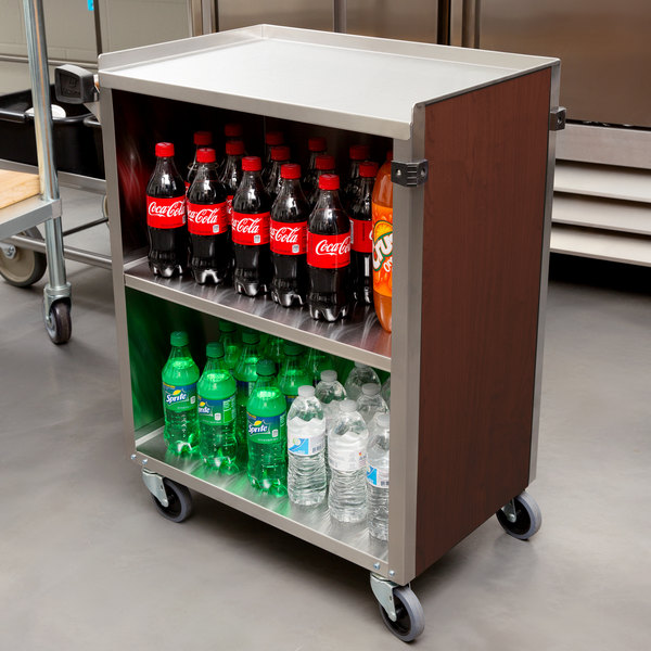 """Lakeside 610RM 3 Shelf Standard Duty Stainless Steel Utility Cart with Enclosed Base and Red Maple Finish - 16 1/2"""" x 27 3/4"""" x 32 3/4"""" Main Image 4"""