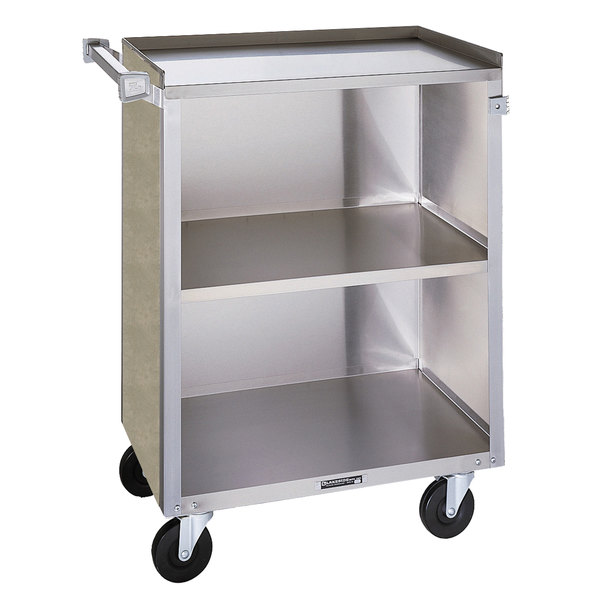 """Lakeside 810 3 Shelf Medium Duty Stainless Steel Utility Cart with Enclosed Base and Beige Suede Finish - 16 7/8"""" x 28 1/4"""" x 34 1/2"""""""