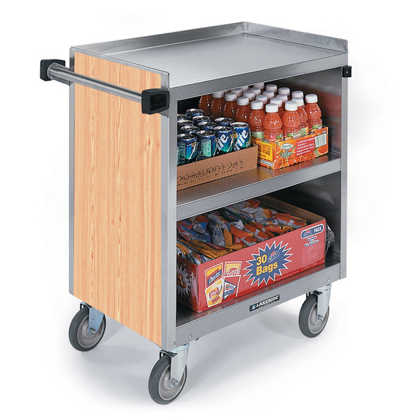 """Lakeside 844 3 Shelf Heavy Duty Stainless Steel Utility Cart with Enclosed Base and Hard Rock Maple Finish - 22 1/2"""" x 39 5/16"""" x 37"""""""