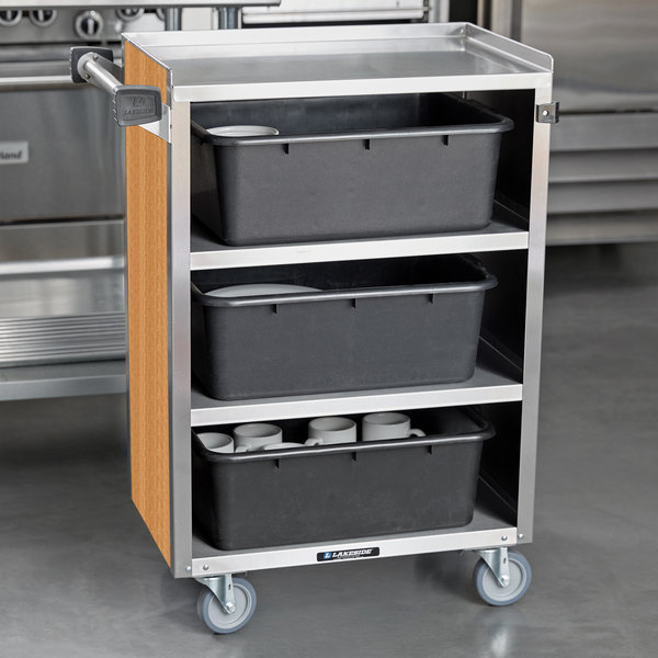 """Lakeside 815LM 4 Shelf Medium Duty Stainless Steel Utility Cart with Enclosed Base and Light Maple Finish - 16 7/8"""" x 28 1/4"""" x 37 1/2"""""""
