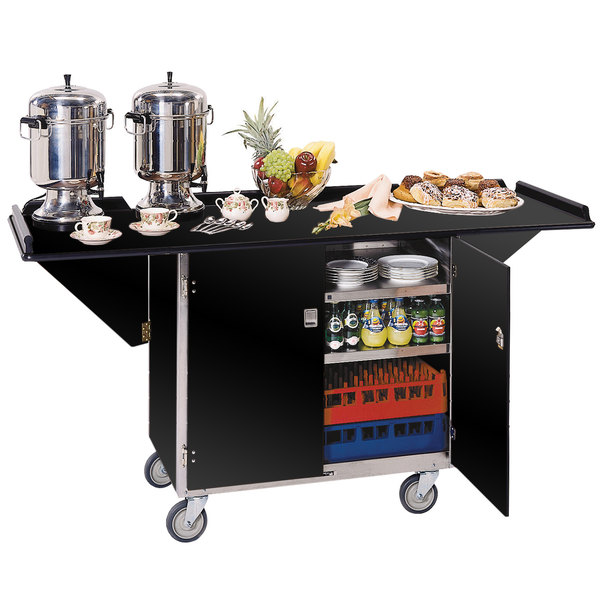 """Lakeside 675 Stainless Steel Drop-Leaf Beverage Service Cart with 3 Shelves and Black Vinyl Finish - 44 1/4"""" x 24"""" x 38 1/4"""""""