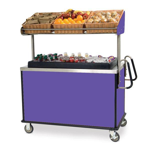 "Lakeside 668 Stainless Steel Vending Cart with Insulated Polyethylene Ice Bin, Overhead Shelf, and Purple Finish - 28 1/2"" x 54 3/4"" x 67"""