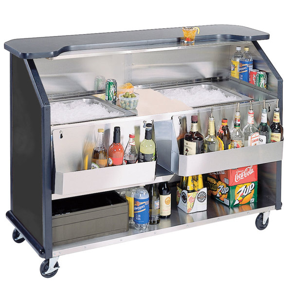 """Lakeside 886B 63 1/2"""" Stainless Steel Portable Bar with Black Laminate Finish, 2 Removable 7-Bottle Speed Rails, and 2 40 lb. Ice Bin Main Image 1"""